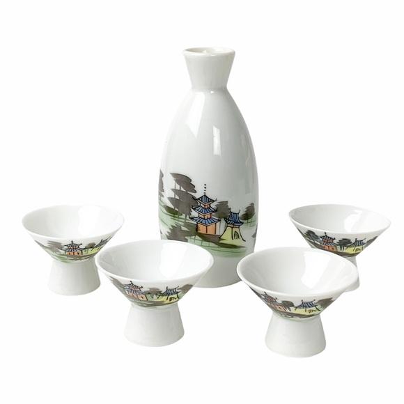 VTG Japanese Kutani sake bottle cups set pagodas